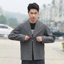 Кардиган из конопли в китайском стиле, улучшенная Китайская одежда, осень, стиль, мужская одежда, национальный тренд, пальто