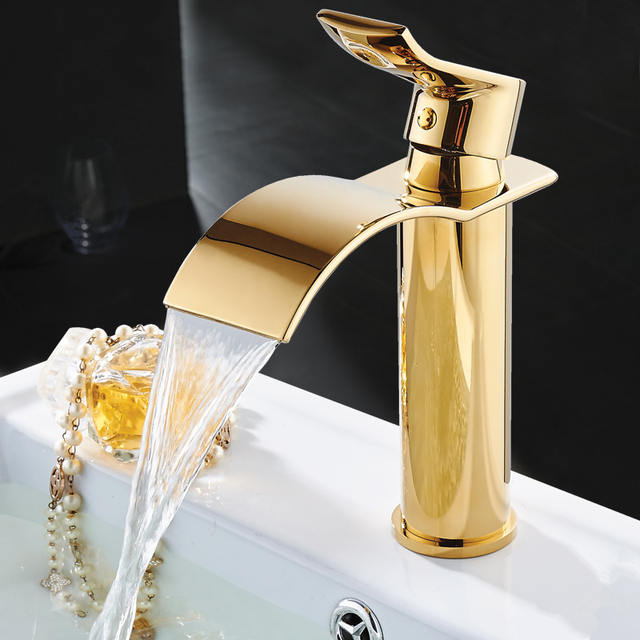 Gold and White Waterfall Basin Faucet Brass Bathroom Faucet Hot and Cold Water