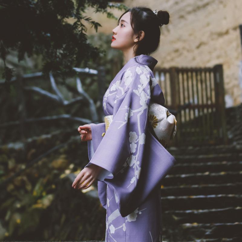 Traditional Japan Yukata Women's Kimono Robe Purple Floral Prints Spring Summer Dress Performing Wear Halloween Cosplay Costume