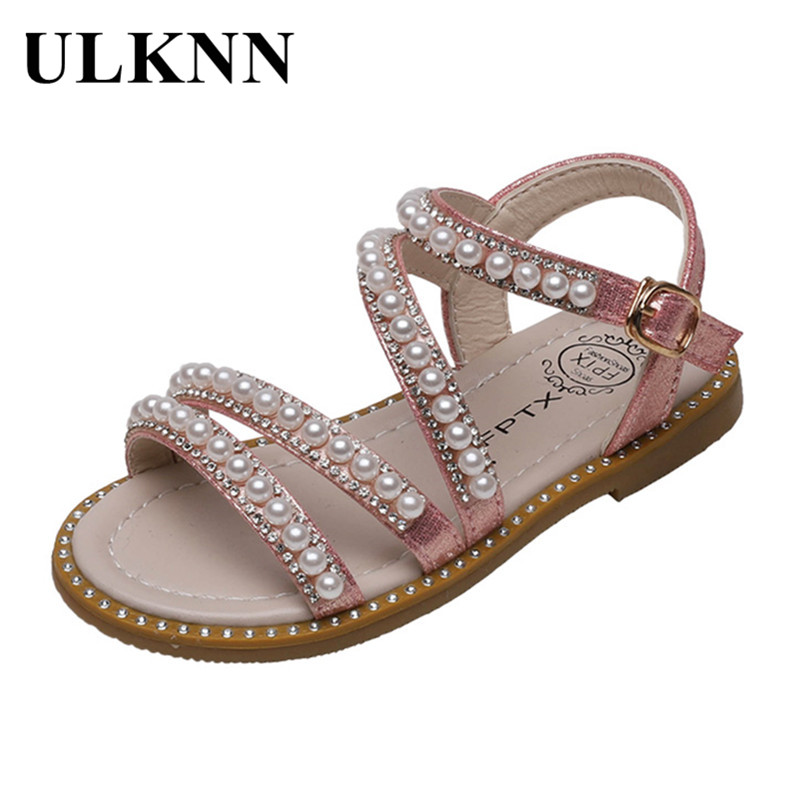 ULKNN Girls Sandals 2020 Summer Versatile Pearl Flat Top Shoes Fashion Metal Buckle Sandals for kids sandals for child
