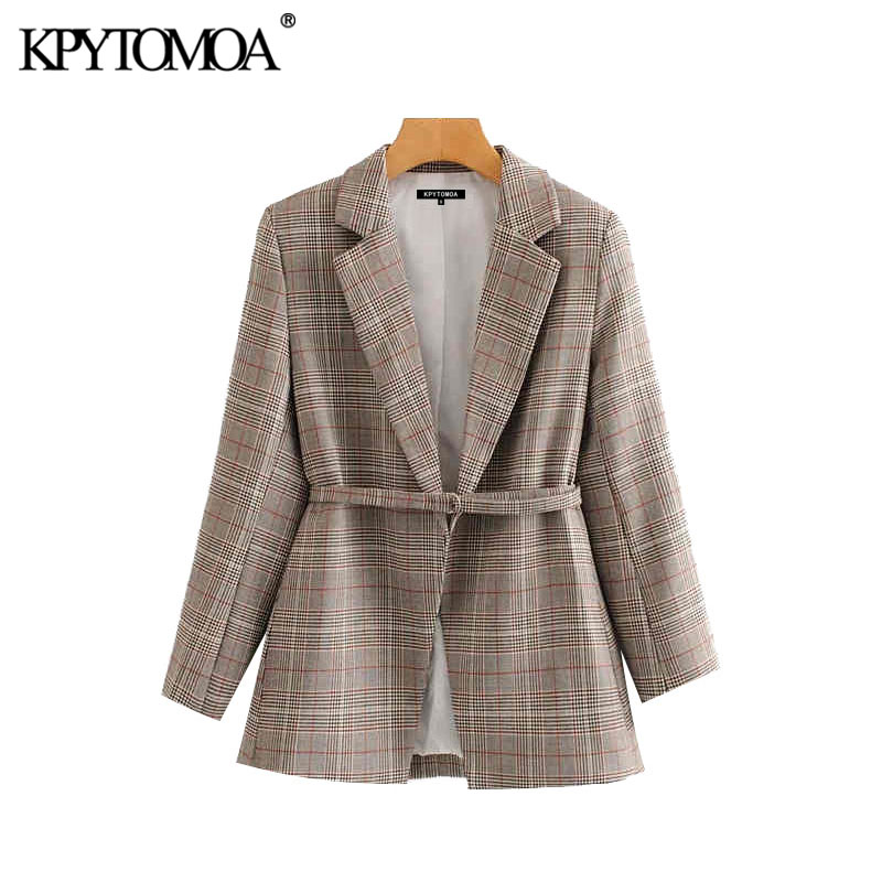 Vintage Stylish Office Wear Plaid Blazer Coat Women 2020 Fashion Long Sleeve With Belt Female Outerwear Chic Tops