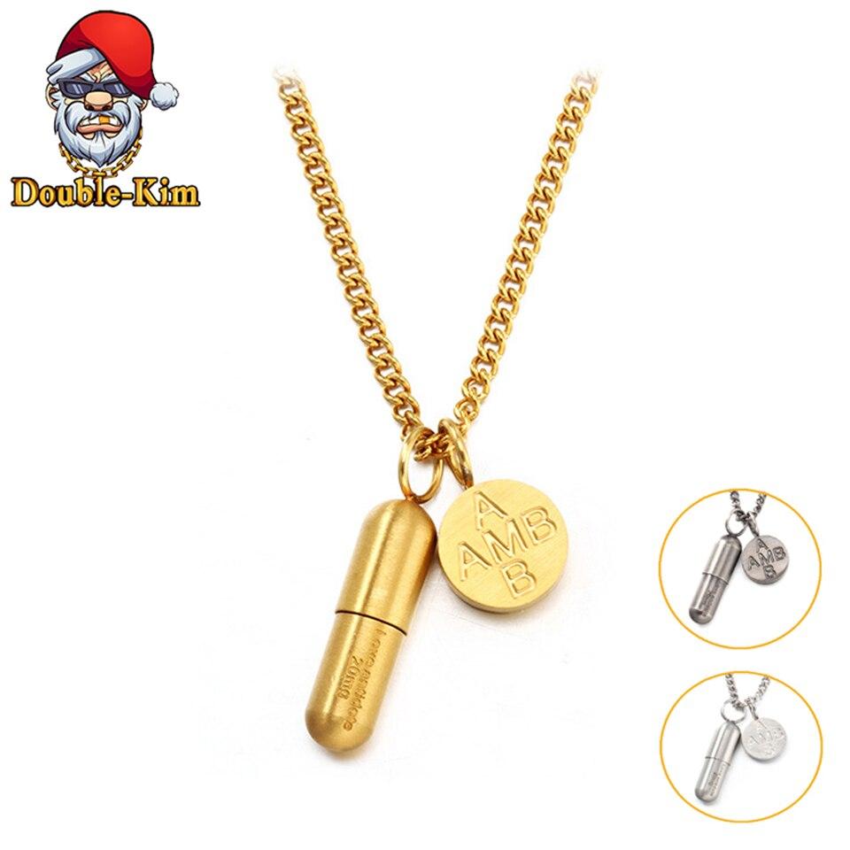 Ожерелье в виде таблетки мужское, Классическая цепь в стиле хип хоп, из титановой нержавеющей стали, ювелирное изделие в подарок Цепочки      АлиЭкспресс