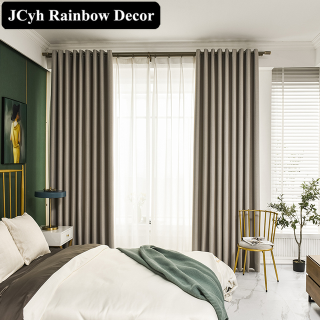 Modern Thick Solid Blackout Curtains 4