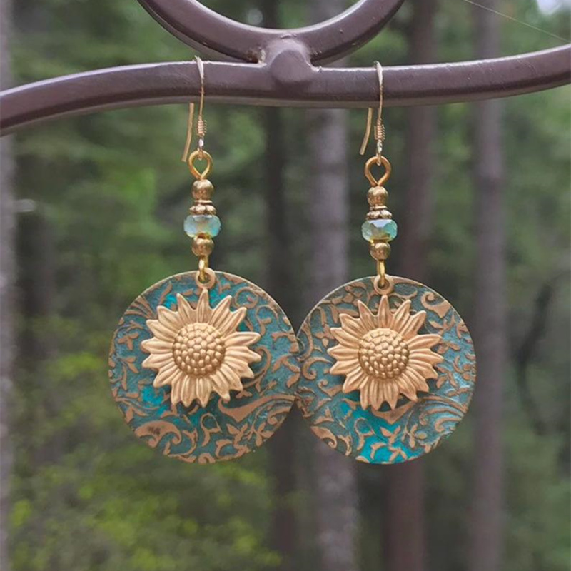 Fashion Geometric Gold Plated Sunflower Earring Wedding Drop Earrings For Women Girl Boho Jewelry Gifts Bijoux Hot Discount 8db6e8 Cicig