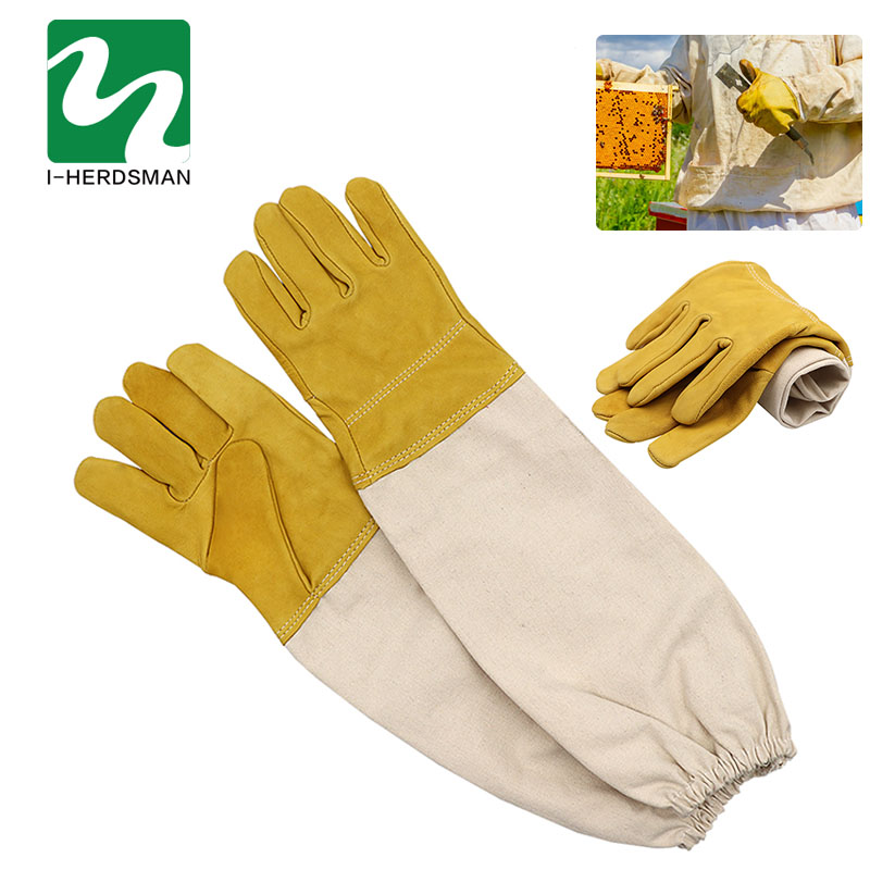 1 Pair Beekeeper Prevent Gloves Protective Sleeves Thin Soft PU Leather Anti Bee Beekeeping Apiculture Equipment