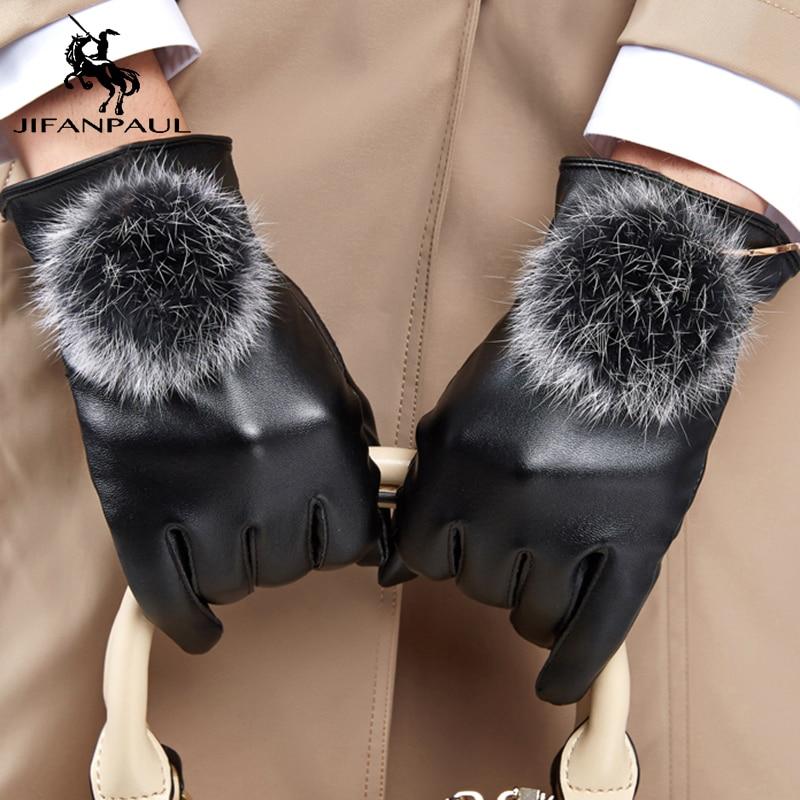 JIFANPAUL Genuine Sheepskin Leather Women Gloves High Quality Full Finger Touch Screen Autumn Winter Warm Gloves Free Shipping