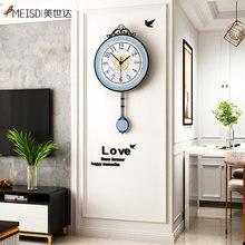 Нордические часы meisd винтажные настенные с маятником креативные