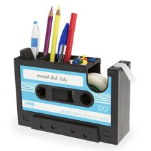 EASY-Cassette Tape Dispenser Pen Holder Vase Pencil Pot Stationery Desk Tidy Container Office Stationery Supplier Gift(blue)(China)