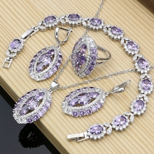 Luxurious Women Silver Color Jewelry Sets Purple CZ Crystal Exquisite Earrings Rings Fashion Necklace Set Dropshipping