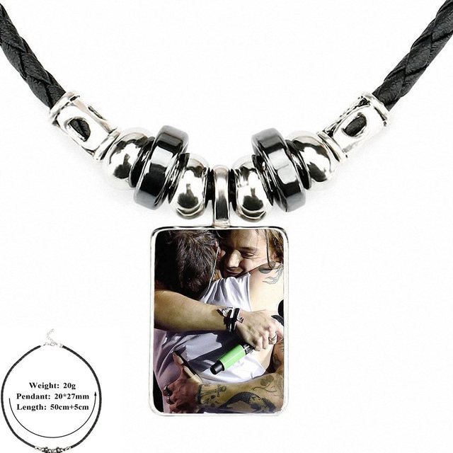 Black leather necklace and wooden medallion and cabochon 30mm glass