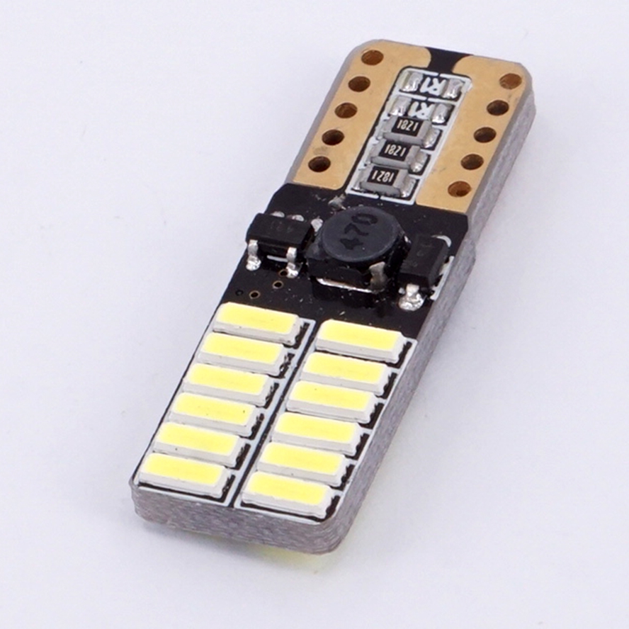 200 шт., светодиодный льные светодиодные лампы T10 LED W5W 4014 24-SMD 3 Вт 6000K, автомобильные лампы от Canbus светильник излучающие диоды, независимая ламп...