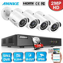 ANNKE 4CH 1080P CCTV Camera DVR System 4pcs Waterproof 2.0MP HD-TVI Bullet Cameras Home Video Surveillance Kit White Color цена 2017