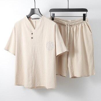 Brand linen men tees sets V neck Men's T Shirt Men Tshirts Vintage For Male T-shirt plus size M-9XL Chinese style two-piece suit