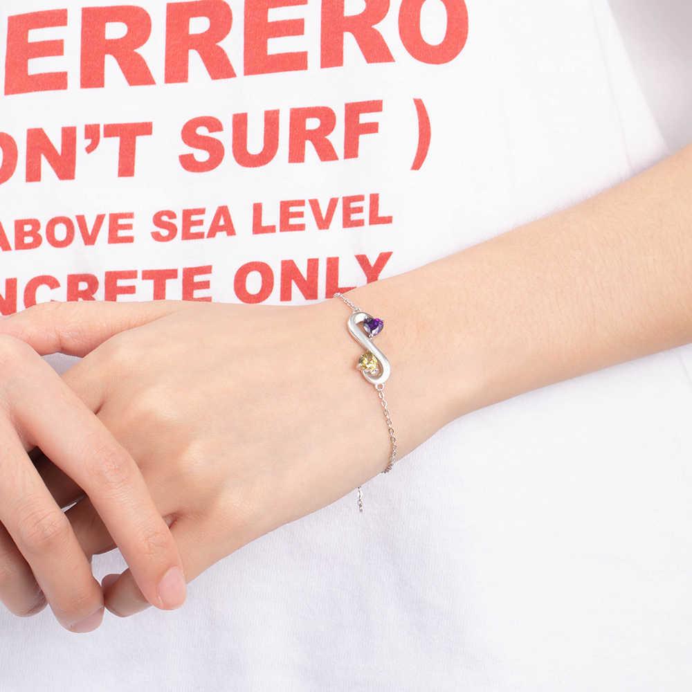 925 Sterling Silver Infinity สร้อยข้อมือชื่อ Birthstone สร้อยข้อมือที่กำหนดเอง Charm สร้อยข้อมือเครื่องประดับ (Lam HUB Fong)