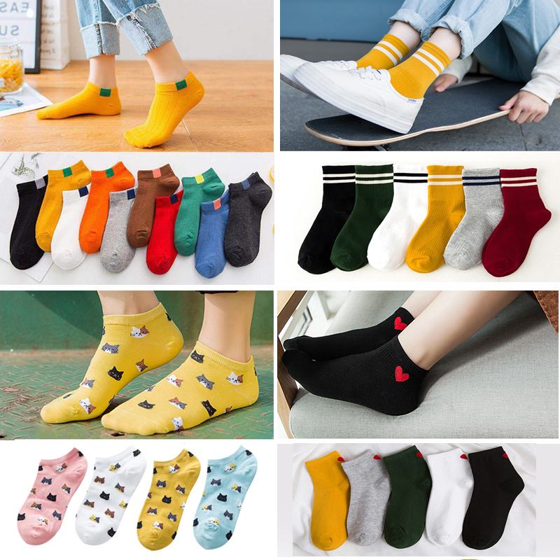 3 Pairs Women Socks Short Spring Summer Funny Boat Socks For Girls Shallow Mouth No Show Cotton Socks Slippers Calcetines Mujer
