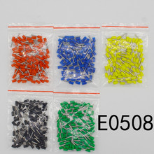 цена на E0508 Tube insulating Insulated terminals 0.5MM2 Cable Wire Connector Insulating Crimp Terminal 100PCS/Pack Connector E-