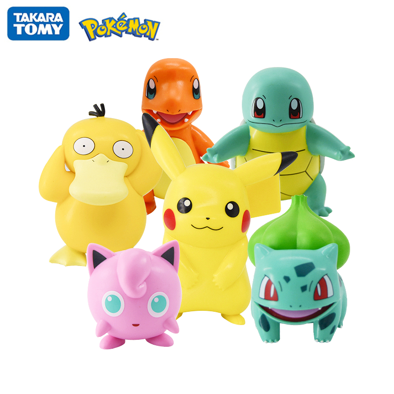 Original Pokemon Pikachu Figures Dolls Cartoon Pokémon Squirtle Charmander Psyduck Purin Anime Model Toys Kids Birthday Gift 1