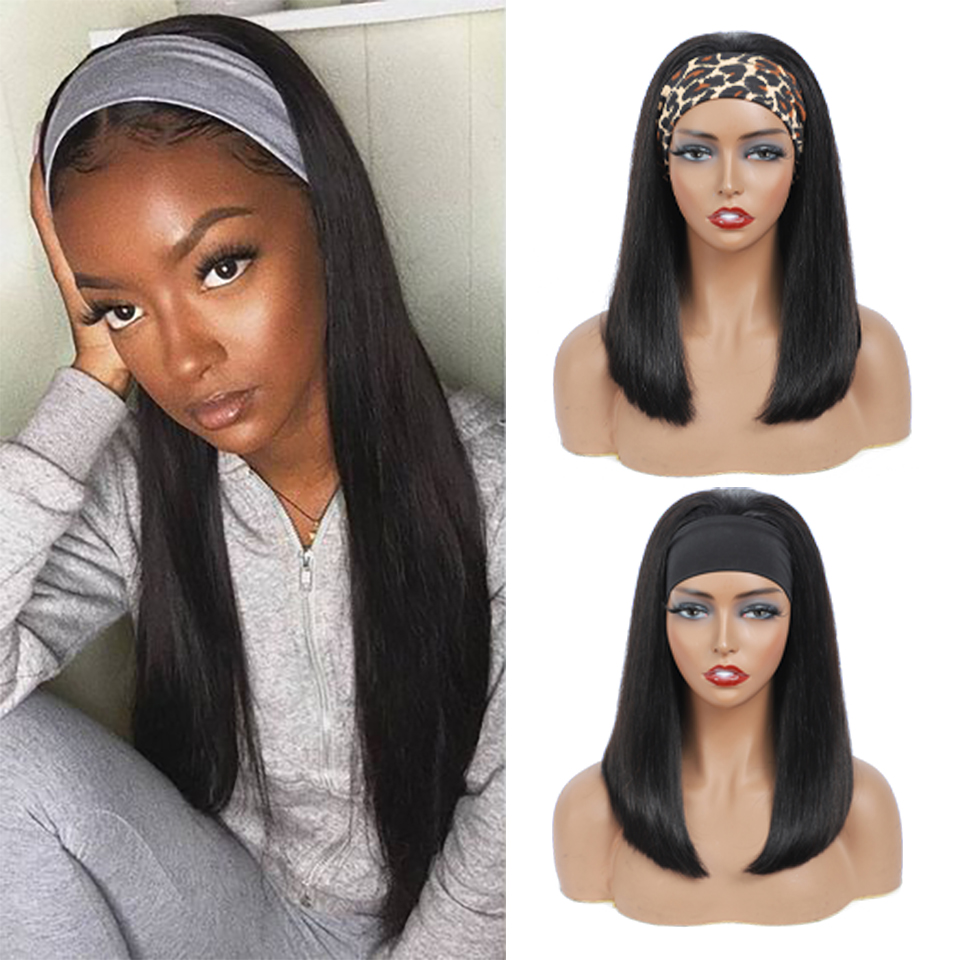 150% Density Headband Wig   Straight  Pre-Attached Scarf Machine Made Wig  Scarf Wig 2