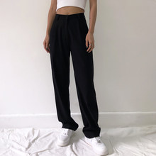 Traje recto a la moda para mujer, pantalones femeninos de cintura alta, informales, de oficina, longitud completa, pierna ancha, holgados, color negro, 2020