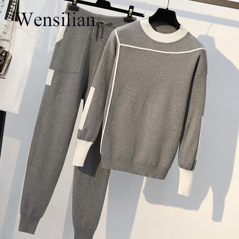 Autumn 2 Pieces Set Women Knitted Pullovers Sweater Fashion Long Sleeve Tracksuits Female Stripe Knit Jumper Tops & Pants