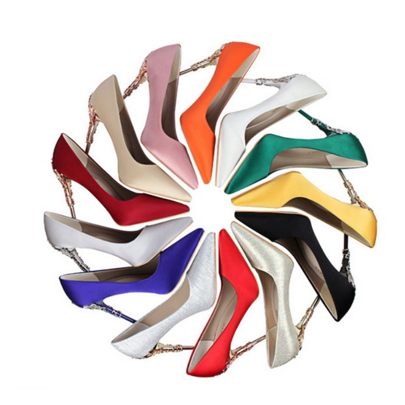 Metal Carved Thin Heel High Heels Pumps Women Shoes 10cm Sexy Pointed Toe Ladies Shoes Fashion Candy Colors Wedding Shoes Woman