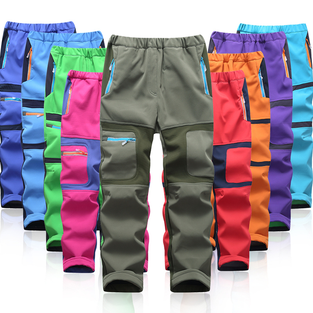 Brand Waterproof Boys Girls Pants Warm Trousers Sporty Climbing Trousers Children Patchwork Soft Shell Outfits For 105 160cm