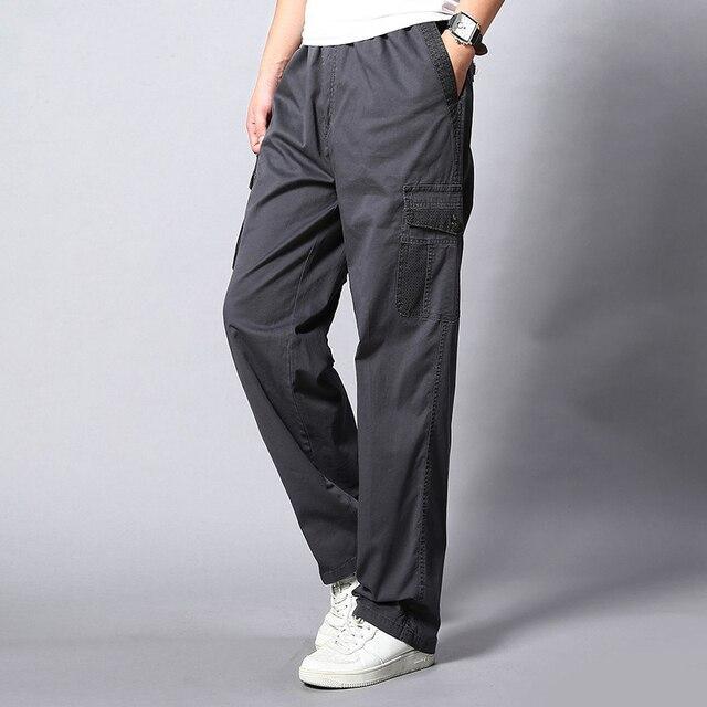Plus Size Big Men Cargo Pants Casual Men Elastic Waist Multi Pocket Overall Cotton Pants Male Long Baggy Large Trouser 5XL 4