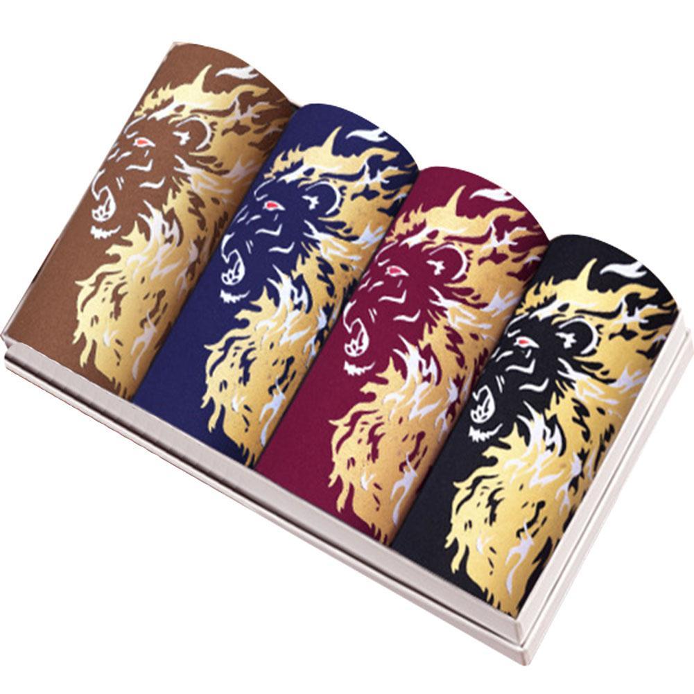 Nenhum Homem Boxers pçs/set 4 Médio Cintura Cueca de Fibra de Bambu Respirável Padrão Dragão Priting Homewear Calcinhas Pugilistas Masculinos