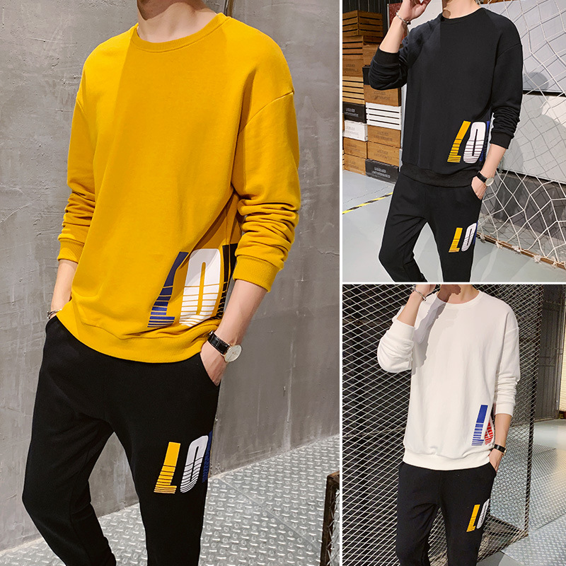 2019 Autumn New Style Men Trend Sports Hoodie Suit Teenager Fashion Casual Korean-style Hoodie Two-Piece Set