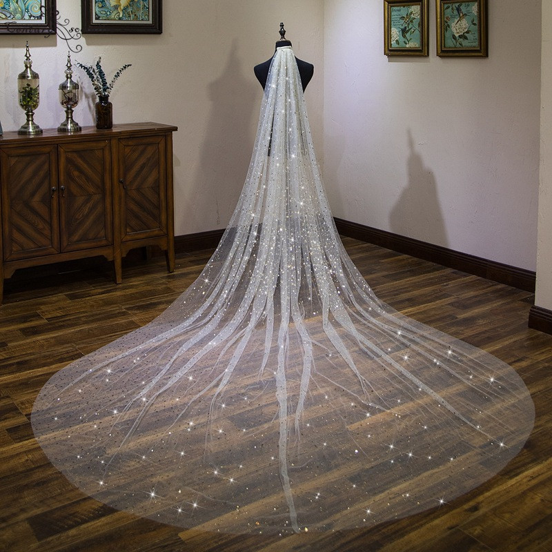 2020 Wedding Accessories 4M Gold Stars Ivory Cathedral/outdoor Wedding Veil Velos De Noiva One Layer Bridal Veil With Comb