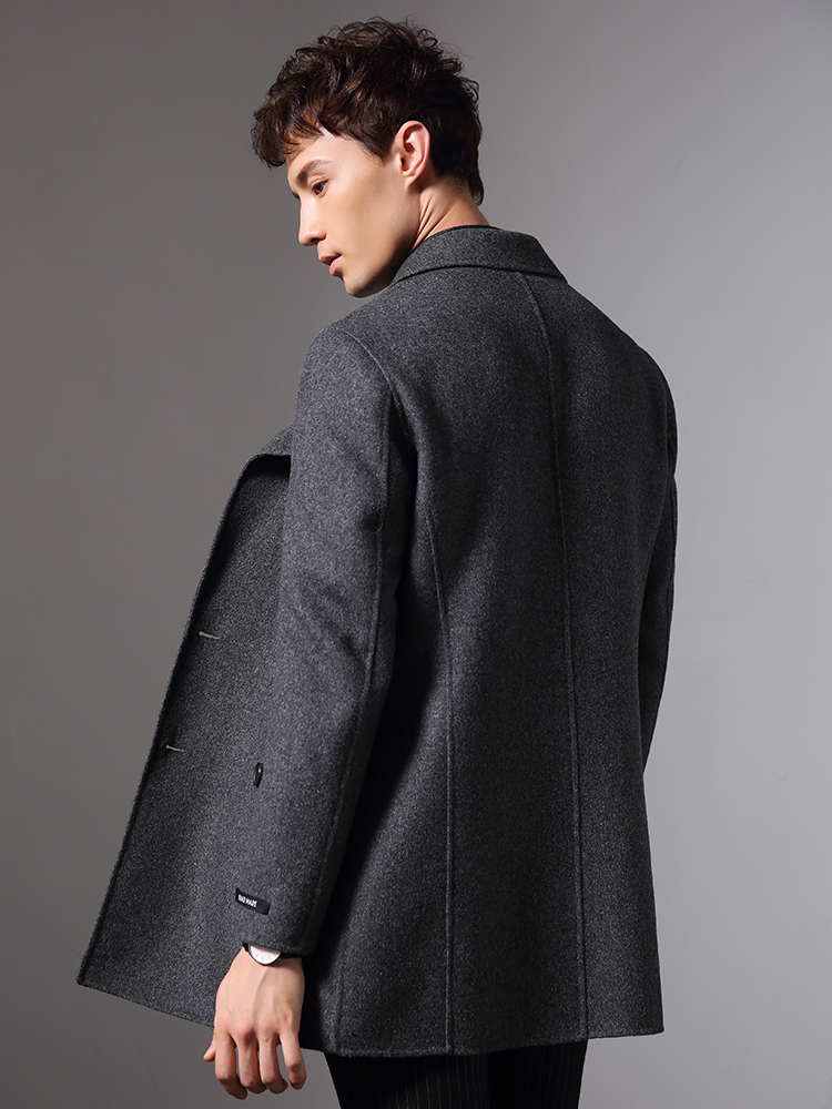 Handmade Double-side Woolen Autumn Winter Jacket Men 100% Wool Coats Windbreaker Long Coat Plus Size Abrigo Hombre MY1836