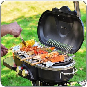 Image 5 - Integrated Portable Trolley BBQ Grill Outdoor Camping Barbecue Oven Gas Stove