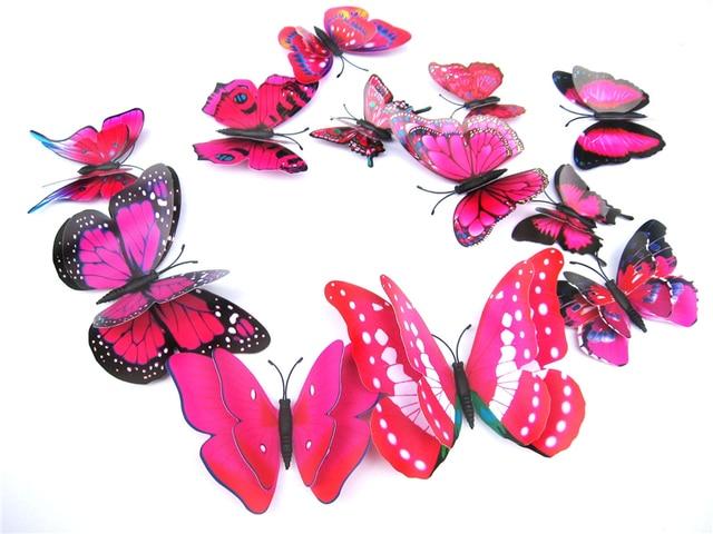 Yellow Orange Pink Butterfly 3D 12Pcs/Set 8