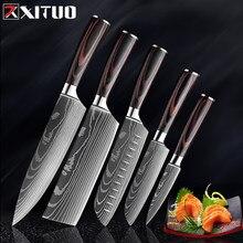Xituo facas de cozinha aço inoxidável damasco padrão do laser faca paka madeira lidar com frutas vegetais carne cozinhar ferramentas accessorie