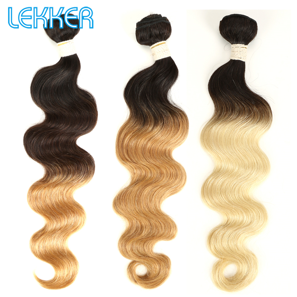 Lekker Ombre Brazilian Hair Bundles 1B/4/27/30/613/99J Remy Body Weave Weaving 1/3/4pcs Bundles