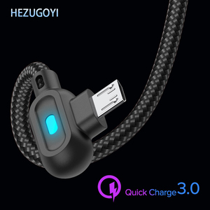 90 Degree LED Fast Charging Micro USB For Xiaomi 4X Type C Cable For Samsung S8 S9 S10 USB-C Cable For Huawei P20 P30 Cable Wire
