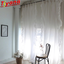 100% Cotton Ruffled Tab Top Curtain Tulle for Living Room White/Grey Yarn Wedding Window Drapes for Princess Room WH136#30