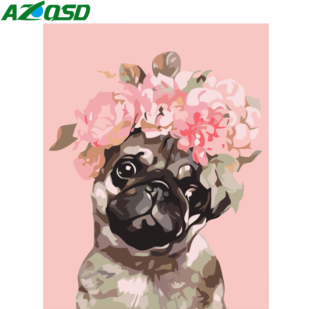 AZQSD DIY Oil Painting By Numbers On Canvas Dog Handpainted Acrylic Paint Coloring By Numbers Cartoon Unframe Unique Gift