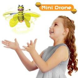 Mini Drone indukcji ręcznie latające pszczoły samoloty antykolizyjne helikopter rc Dron Quadrocopter zabawki prezent dla chłopców dziewcząt dzieci w Helikoptery RC od Zabawki i hobby na