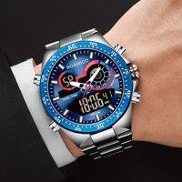 Boamigo 2020 Nieuwe Mode Heren Horloges Rvs Top Merk Luxe Sport Heren Digitale Analoge Blauw Quartz Horloge Voor mannen Man