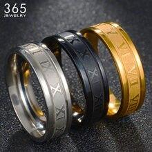 Numerais romanos gravura em aço inoxidável 3 cor anel feminino clássico elegante ouro cor jóias de casamento