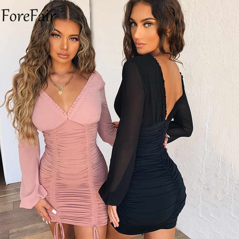 Forefair V-hals Ruches Lange Mouwen Sexy Party Dress Vrouwen Herfst Lace Up Bandage Night Club Wit Zwart Roze Mini bodycon Jurk