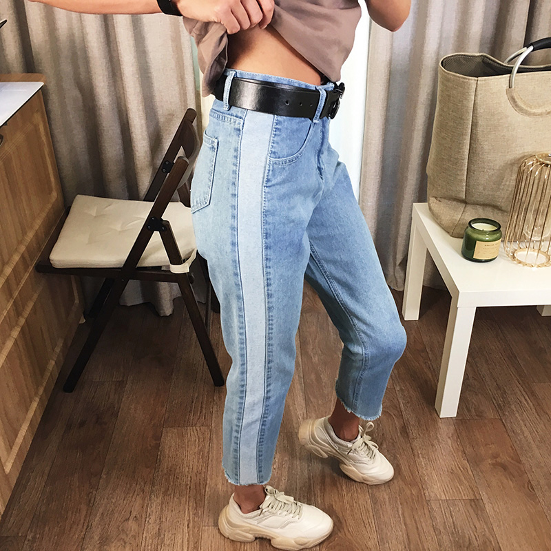 BIVIGAOS 19 New Spring Autumn Womens Cropped Jeans Korean Side Stitching Washed Denim Straight Pants Boyfriend Jeans For Women 2