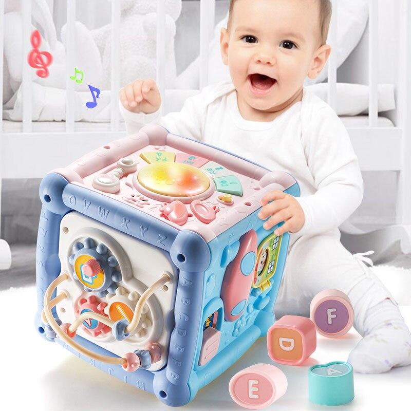 Детская музыкальная шкатулка, забавная ручная барабанная игрушка, детский куб активности, геометрические блоки, игрушки для младенцев, сор...
