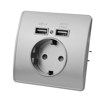 EU Standard Electrical Wall Charger Adapter Charging Wall Germany Plug Socket Power Outlets,White,16A,Grounded,PC Panel