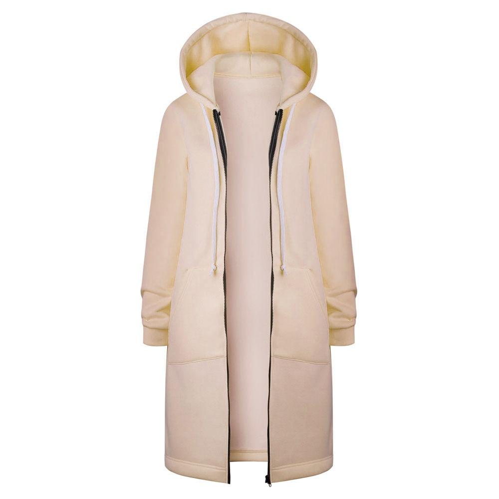 Women Zip Up Hooded Coat Ladies Winter Warm Long Parka Jacket Plain Hoodies Tops