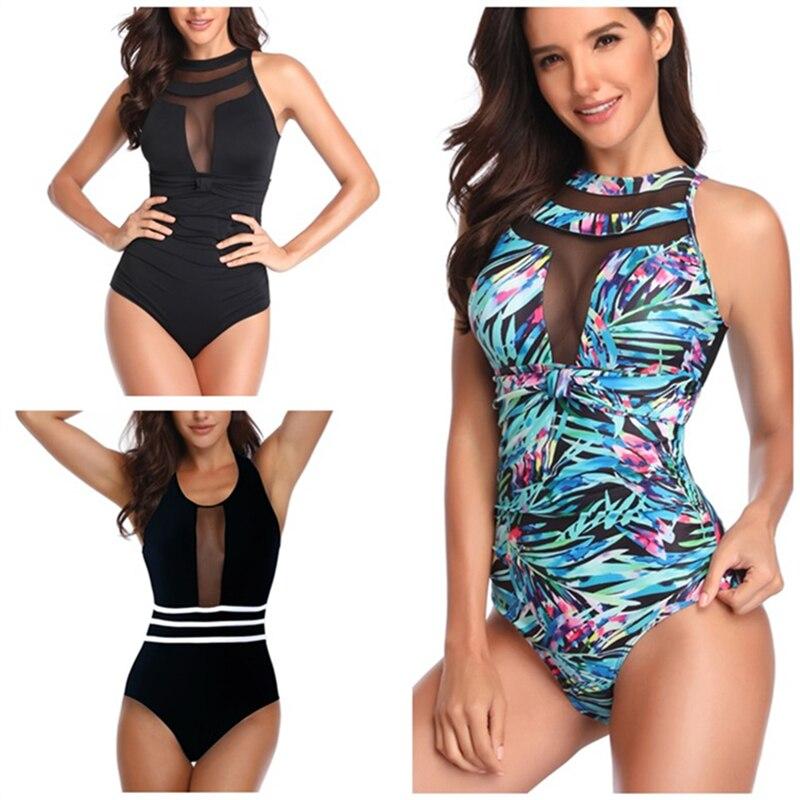 Malha maiô de uma peça fundida roupa de banho das mulheres 2019 banhistas sexy plus size monokini indoor bodysuit pode praia do sexo feminino
