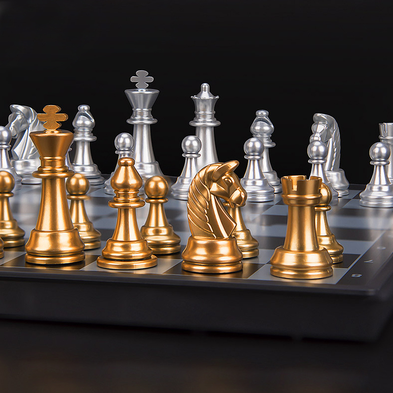 Gold And Silver Chess Magnetic Foldable Board Puzzle Chess Card Game Toy Chess High Quality Chess Magnetic Set