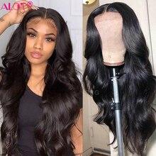 Объемная волна кружева парик из бразильских человеческих волос 150% 13x1 кружева части парики для волос с детскими волосами для Для женщин чело...