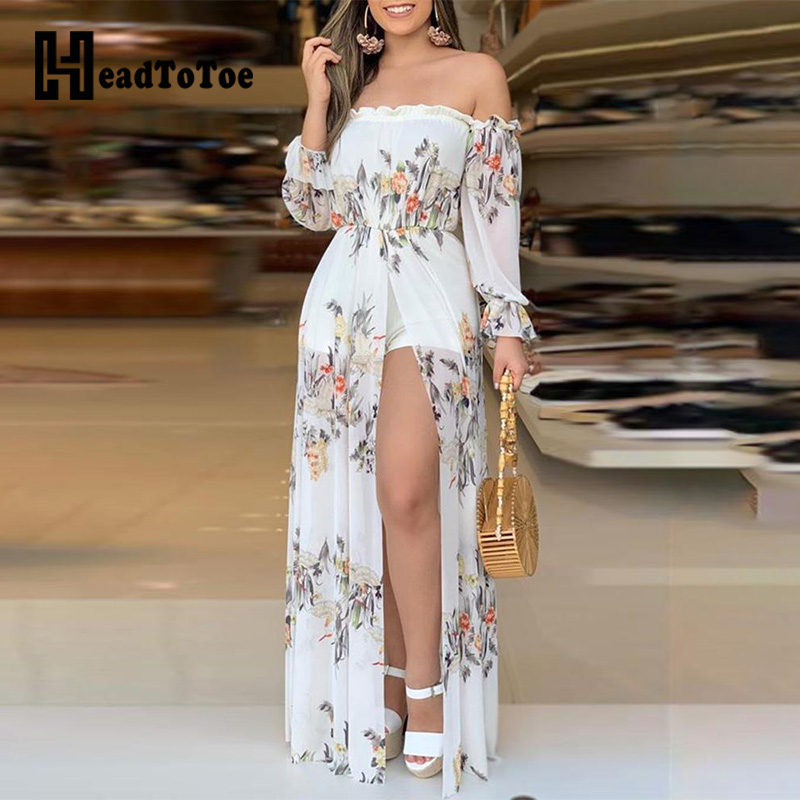 Floral Print Culotte Design Thigh Slit Rompers For Women